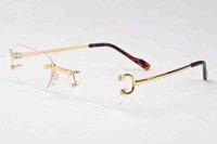 Wholesale Popular Eyewear Quality - 2018 top quality brand designer sunglasses rimless clear glasses popular men eyewear gold silver metal frame buffalo horn glasses with box