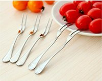 Wholesale Stainless Steel Fruit Fork Kitchen Cutlery Forks Scoop For Candy Dessert Home Party Restaurant Cafeterria Kitchen Dining Bar