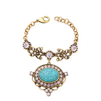Crackled Oval Turquoise Stone Inlay Full Rhinestone Bejeweled Pulseira Antique Gold Baroque Chain Link Declaração Bracelet OEM ODM Atacado