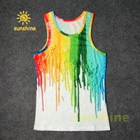 Wholesale Tshirt Vest Men - Popular 2016 new fashion both side 3D print rainbow paiting casual cool tshirt tops casual Vest cotton blend summer cloth free shipping