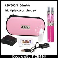 Wholesale Ego Ce4 Dual Kits - Double Ego T CE4 Starter Kits E cigarette CE4 atomizer clearomizer 650mah 900mah 1100mah battery ego t battery E Cigs ego dual kits