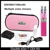 Wholesale Ego Ce4 Dual Kits - Double Ego T CE4 Starter Kits E cigarette CE4 atomizer clearomizer 650mah 900mah 1100mah battery ego t battery E Cigs ego dual kits