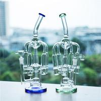 ingrosso tubo di tabacco blu-Tubi per il fumo di vetro in vetro Bong Tubi per olio e tabacco a due funzioni Green Blue 5 Tubi e filtro per riciclatore a nido d'ape a nido d'ape