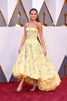 Wholesale Oscar Crystal Dresses - 2016 Oscar Red Carpet Dresses Alicia Vikander Light Yellow Hi-Lo Prom Dress Sequins Crystal Puffy Gown Strapless Celebrity Evening Dresses