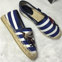 Wholesale Hard Rope - luxury brand slip on loafers striped hemp rope shoes women shoes bee espadrilles smoking shoes fisherman,size35-40