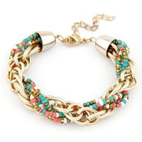 Wholesale Western Style Bracelets - Wholesale-New Western Style Bead Jewelry Bohemia Fashion Charms Polychrome Color Metal Beads Bracelet Women Fine Jewelry D211