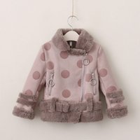 Wholesale Wholesale Wool Fur Coats - Everweekend Kids Girls Winter Fashion Fur Fleece Lining Coats Baby Warm Wool Cute Dots Outwears Children New Coats