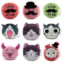 Wholesale Multipurpose Purse - 2016 New Multipurpose Coin Purses For kids Cute Kitty Shaped Clutch Bags 16 Colors Supersoft Short Plush Mini Wallets Pouch Gift