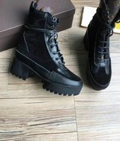 Wholesale Black Combat Boots Women Fashion - New 2018 Flatform Women's Combat Desert Boots Genuine leather Ankle Martin Genuine leather Booties Feminino Fall Winter