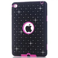 Wholesale Tablet Hard Silicon Case - 3 in 1 Diamond Bling Starfall Armor Hybrid Hard PC Silicone Gel Case Shockproof Defender For Ipad Mini 1 2 3 4 MINI4 7.9 Tablet Skin Fashion