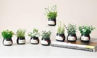 potenciômetros verdes da mini planta venda por atacado-Mini Bonsai Simulação Decorativa Flores Artificiais Falso Plantas De Potro Verde Ornamentos