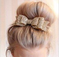 bling headbands arcos venda por atacado-2016 New Baby Headband Meninas Bling Faixa de Cabelo Lantejoulas Duplo Over-size Bow Nó Headwear