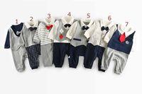 Wholesale Gentlemen Clothing Styles - 7 colors INS Newborn Baby kids fall long sleeve turn down collar gentleman style romper 100% cotton kids boy clothing romper free ship