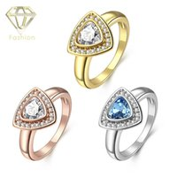 Wholesale Art Deco Tins - Art Deco Engagement Rings Romantic 18K Rose White Gold Plated Triangle Design Rings with AAA CZ Stone Fashion Jewelry for Women
