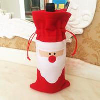 Wholesale Wholesale Candle Gift Bags - Christmas Wine Bottle Cover Bag Stockings bag Villus 13x32cm Santa Claus Red Wine Bottle Decorations Gift Bag Party Supplies 2017 Hot Sale