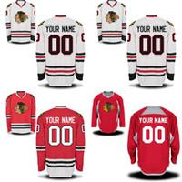 kişiselleştirilmiş hokey formaları toptan satış-Chicago Blackhawks Formalar S-5XL Kişiselleştirilmiş Özelleştirilmiş 100% Dikişli Nakış Logolar Hokeyi Forması Herhangi İsim ve Herhangi Bir Numara