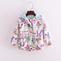 Wholesale Polyester Kids Outwears - 2016 New INS Autumn Fashion Baby girls Graffiti rabbit Birds coat cartoon Hooded zipper Outwear clothing kids hooded jacket Free Shipping