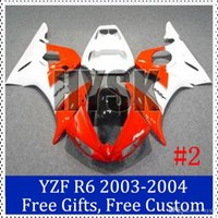 Wholesale Custom Sportbike Fairings - Fairing set for Yamaha 03 04 YZF R6 Custom Painting Motorcycle Fairing 2003-2004 YZF R6 Red white motorcycle sportbike Bodycover with gifts