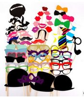 Wholesale Mustache For Party - Wholesale-Best Selling 58PCS DIY Photo Booth Props Mustache On A Stick For Wedding Birthday Christmas Party