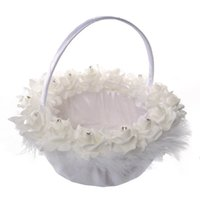 Wholesale Satin Flower Girl Baskets - 2017 Wedding Ceremony Party Love Case Satin Bowknot Rose Flower Basket for Women Girl Home Decoration Storage Bag Container