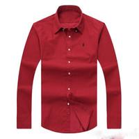 usa kleidung für männer großhandel-Großhandelsniedrige sleeved 100% Baumwolle der preiswerter freier Verschiffen-2018 neuer Herbstwintermänner Gewohnheit passender Polo-Hemden USA-Markenkleidung