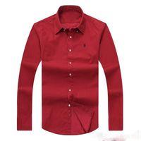 özel gömlekler toptan satış-Toptan ucuz Ücretsiz Kargo 2018 Yeni sonbahar kış erkek uzun kollu% 100% Pamuk Özel Fit Polo Gömlek ABD marka giyim
