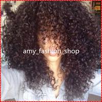 12 inç dantel ön peruk toptan satış-En kaliteli dantel peruk Celeb Afro kinky curl Tutkalsız Kap 8 inç doğal Hint Remy İnsan saç düzenli uygun makine yapımı Kısa peruk