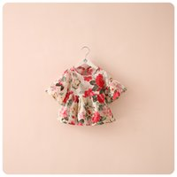 Wholesale girls floral shirts - Summer kids shirt girl floral top baby girl flower dress chiffon clothes clothing 2 colors 5 p l