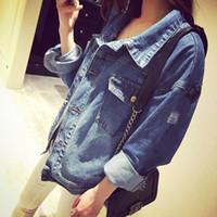 Wholesale Round Neck Denim Jacket - High Quality 2016 Handsome Punk Female Small Round Collar Denim Jacket High Quality Vintage Women Autumn Spring Jacket
