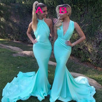 Wholesale Halter Satin Mermaid Wedding Dress - Gorgeous Blue Two Style Bridesmaid Dresses Halter Or Deep v Neck Ruffles Mermaid Maid Of Honor Gowns Sweep Train Wedding Guest Dresses