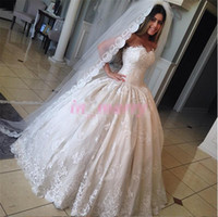 coreano novo vestido de noiva venda por atacado-Princesa Cinderela Vestidos De Casamento Fotos 2017 Vestido de Baile Querida Bead New Lace Coreano Do Vintage Vitoriano Muçulmano Vestidos de Casamento Islâmico