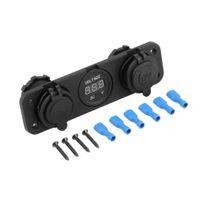 Wholesale Voltmeters For Motorcycles - Car Motorcycle Power Port Dual USB Adapter Charger +12V 24V Cigarette Lighter Socket + Digital Voltmeter For Phone IPod