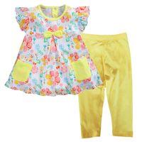 Wholesale Girls Leopard Dress Coat - Floral Girls Dress Summer Blouses Pants Suits Children's Clothes Set Jumpers Yellow Pants Pajamas Suit Kids Tee Shirts Tops