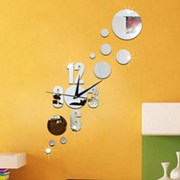 Wholesale Number Kids Wall Clock - 2016 Number Dot Circle Wall Art Clock Modern Design 3D Crystal Mirror Wall Watches Home Decoration Living Room Kids