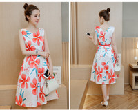 Wholesale Skirt Woman Fashion Korea - 2016 New summer in South Korea printing A word skirt long sleeveless dress fashion, cultivate one's morality