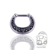 Wholesale Hinged Steel Ring - 1.2mm Steel Septum Clicker Piercing Hinged Fashion Nose Ring Piercing Nose Stud Body Jewelry