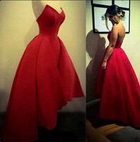 Wholesale Sexy After Dresses - Hot Red High Low Prom Dresses New A Line Sweetheart Sexy Backless Satin Short Evening Party Gowns Runway After Party Celebrity Dresses 2017