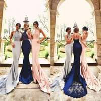 Wholesale Sexy Silk Wedding Dresses - 2017 Halter Neck Bridesmaid Dresses Lace Appliques Open Back Sexy Wedding Guest Party Dresses Formal Evening Party Gowns with Sweep Train