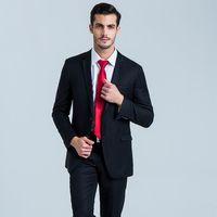 ingrosso due pezzi abiti gli uomini stili-(giacca + pantaloni + cravatta) occasioni formali da uomo vestito a due pezzi elegante colore puro di alta qualità PROM vestito semplice stile classico spettacolo sottile