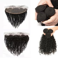 Wholesale Part Shop - Grade 9A high quality kinky curl remy human hair bundles 4pcs lot drop shopping 50%off human hair extensions with 13x4 lace frontal