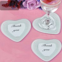 Wholesale Glass Invitations - Cup Glass Mat Heart Shape Creative Photo And Thank You Card Coaster Fashion Wedding Favor Gift 1 25ab F R