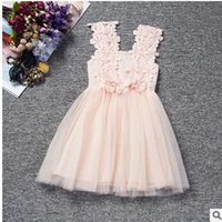 Wholesale Chiffon Pleated Gauze Dress - new 2016 summer girls hollow out the harness flower girl dress child gauze bitter fleabane bitter fleabane skirt