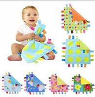 bebek battaniye peluş toptan satış-SıCAK Rahatlatıcı taggies Battaniye Havlu Yatıştırmak Bebek Sakin Mendil Bebek Çocuk Bebek Havlu Battaniye Sevimli Yumuşak Kare Bebek Peluş Oyuncaklar TO335