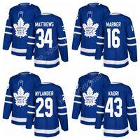 Wholesale Custom Make Jersey - 2018 Toronto Maple Leafs 34 Auston Matthews Jersey 16 Mitchell Marner 43 Nazem Kadri 29 William Nylander Ice Hockey Jerseys make custom Blue