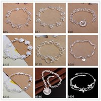 Wholesale Crystal Grape Wholesale - Grape shell flower sterling silver bracelet 8 pieces mixed style GTB2 Brand new high grade fashion women's 925 silver bracelet