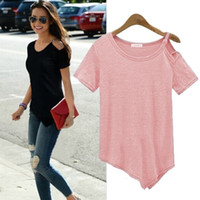 Wholesale Pink Top Cap Sleeve Solid - New Solid camisetas Summer Cotton t-shirts Fashion Tops 2016 Punk Rock tee shirt femme Off the Shoulder Strap T Shirt Women