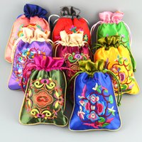 Wholesale Gift Pouch Bags Wholesale China - Patchwork Embroidery Small Decorating Birthday Party Satin Gift Bags Wholesale Drawstring China Fabric Jewellery Pouches spice bags 10pcs