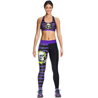 Wholesale Skull Vest Tops - Black Skulls Camisoles Fashion Cute Tanks Shirts Running Singlet Vest Purple Skulls Camisole Gym Sports Tank Tops Digital Print Sleeveless