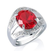 Wholesale 18k Ruby Diamond Rings - Honorable 3CT Ruby Bridal Jewelry Women's 18k White Gold Plated Imitation Diamond Ring Prong Setting Free Shipping