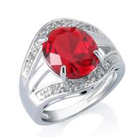 joyas de oro blanco 18k para mujer al por mayor-Honorable 3CT Ruby nupcial joyería de las mujeres 18k oro blanco plateado anillo de imitación de diamantes ajuste del diente envío gratis